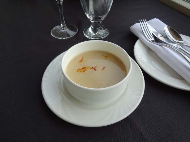 Roasted Apple and Parsnip Soup with Saffron Petals