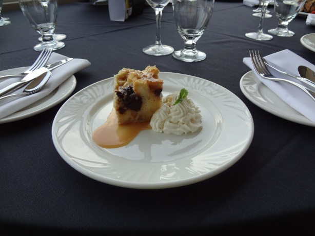 Chunks of brownie folded into bread pudding with salted caramel sauce.