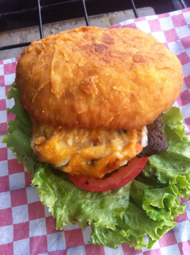 Back Bacon Mozzarella Bannock Burger