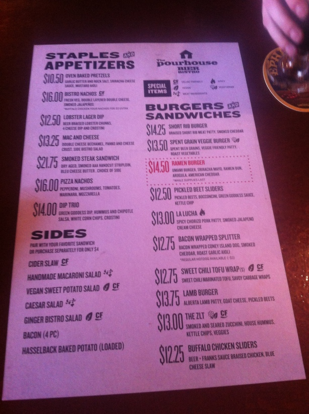 Pourhouse Bier Bistro New Menu